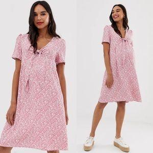 Glamorous Bloom Pink Ditsy Floral Tie Front Dress